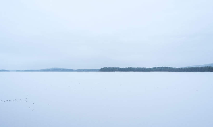 Frozen lake near Norsjö