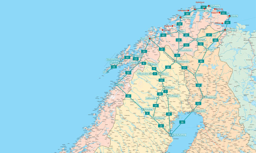 The distances in Northern Sweden, Norway and Finland.