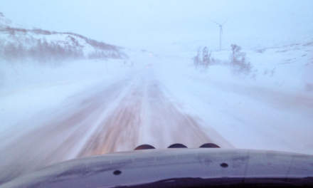 Convoy through the driving snow