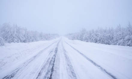 Snowy road to Kiruna