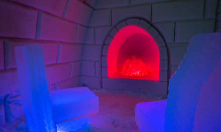 An icy fireplace