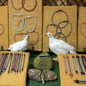 Jewellery, decorated with stuffed snow grouses