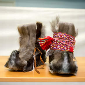 Traditional shoes made of reindeer skin