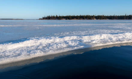 Old ice between mainland and islands