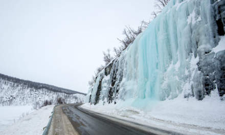 Ice falls beside the road to Alta