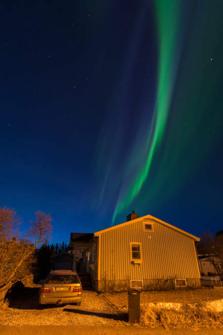The Northern Lights, my house and the car