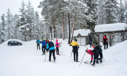 Some of the skiers in Äkäsmylly – the most already had started