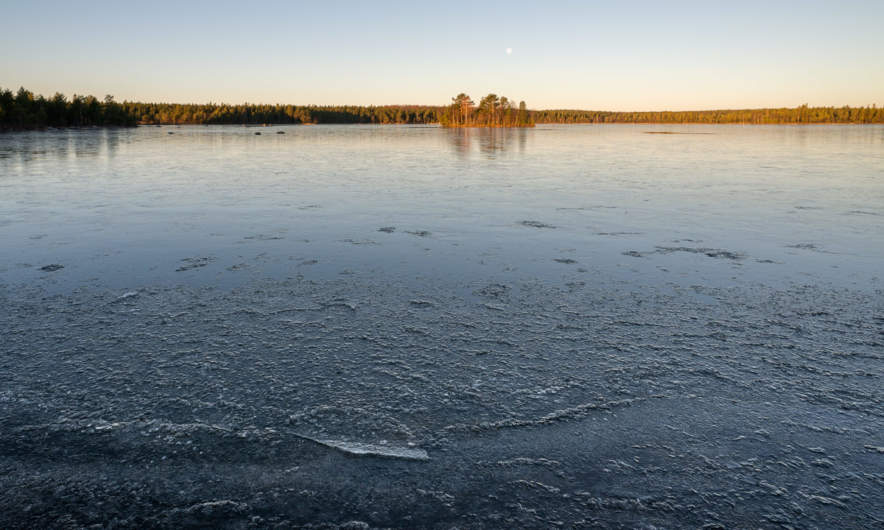 Snesviken – already ice covered after two frosty nights.