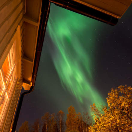 … then stronger – polar light in front of my house