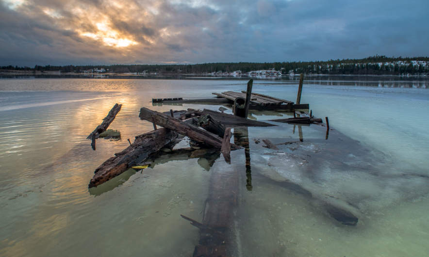 Old broken pier– flooded, too