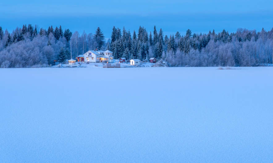 Wintry blue hour in Ursviken