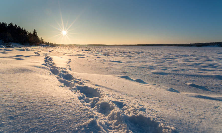 Leaving snow shoe tracks along the coast