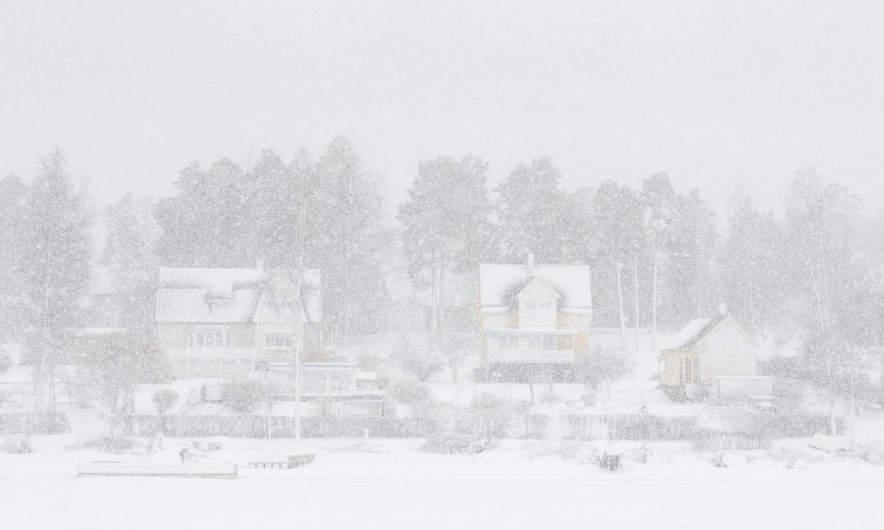 Heavy snowfall above Kallholmen in Skelleftehamn