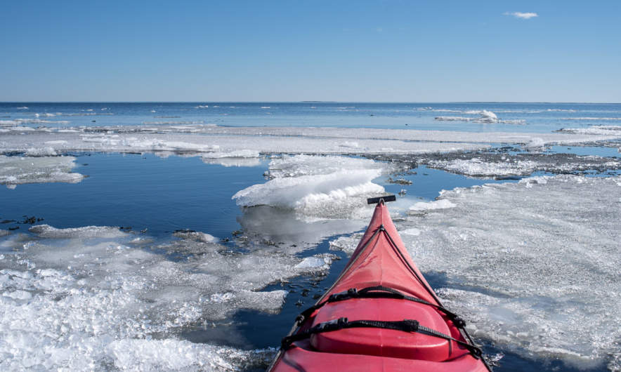 Paddling through the ice floes