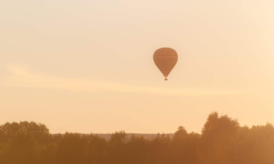 Balloon in the evening haze