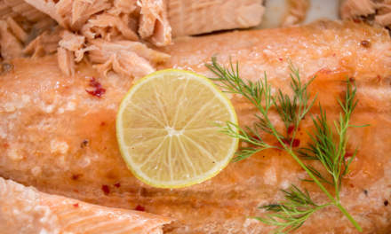 Baked salmon – part of the lunch buffet