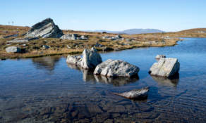 Mountain pond and rocks