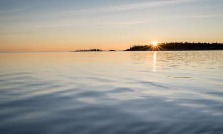 Sunrise behind the island Norrskär