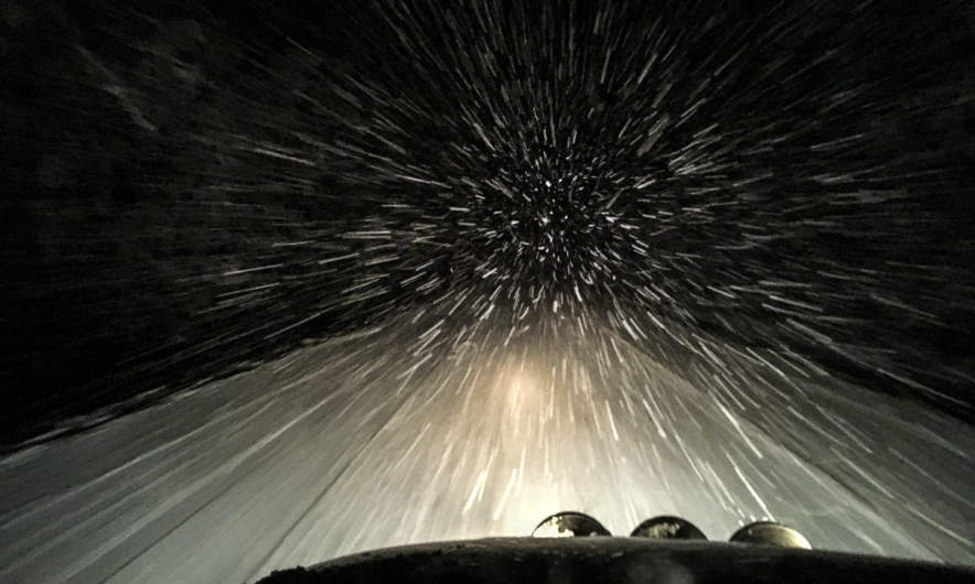 """Hyperspeed"" feeling when driving through night and snow"