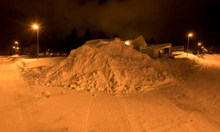 A pile of snow –more than 3 meters high