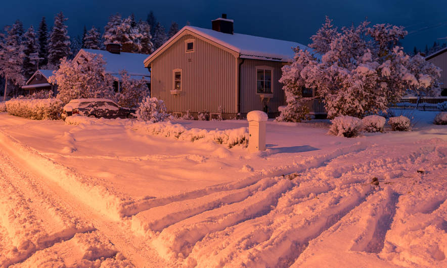 This morning: my house in Skelleftehamn