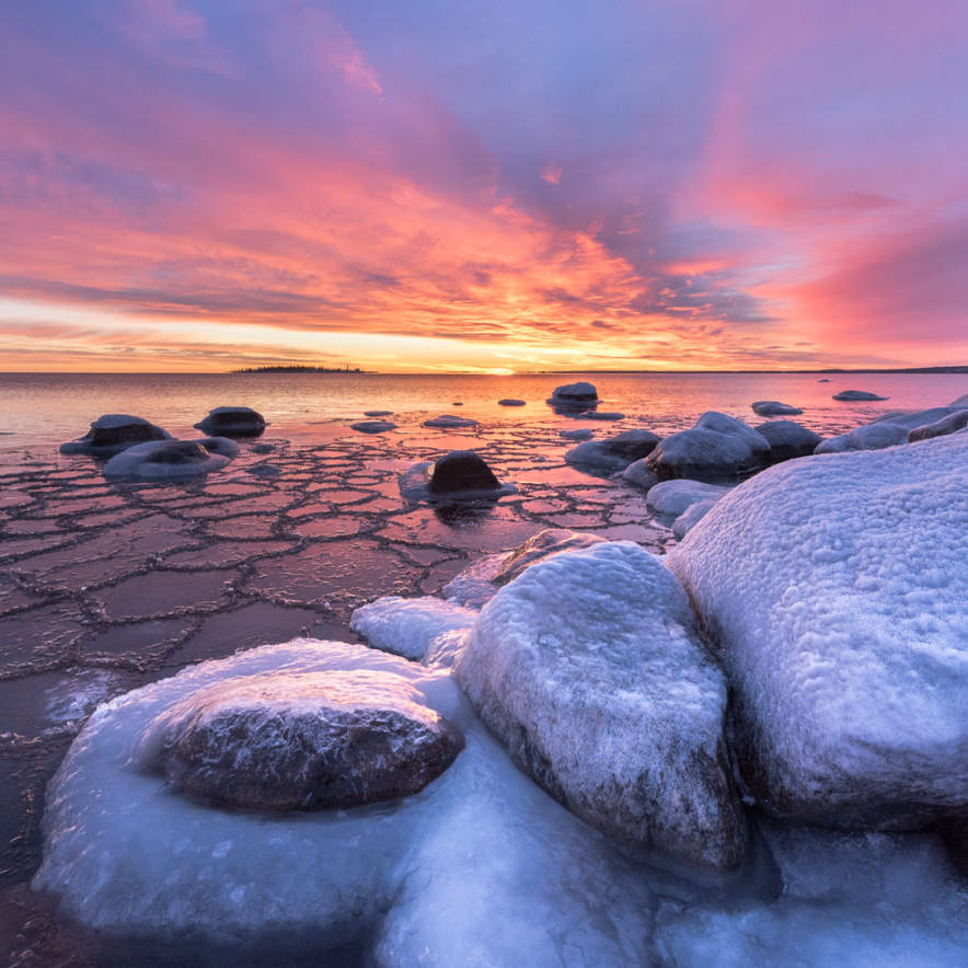 Pancake ice and sunrise