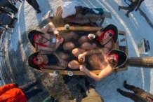 Four pirates bathing