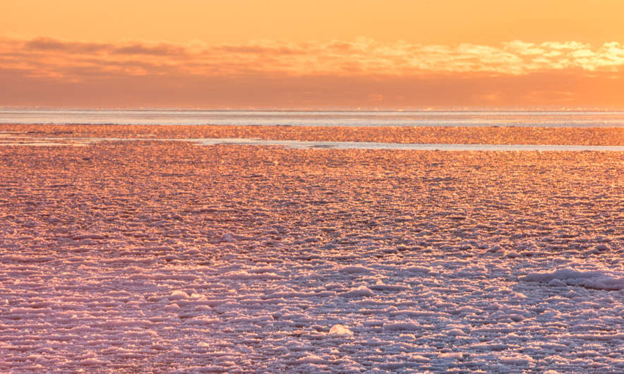 Sunrise over the wintry Baltic Sea