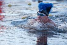 Swimmer: blue furry hat