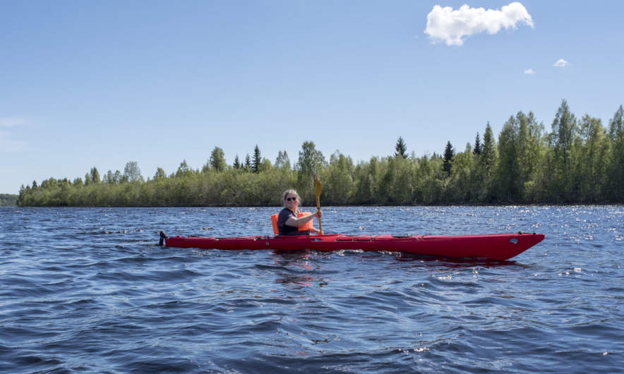 Annika paddling on the Skellefteälven