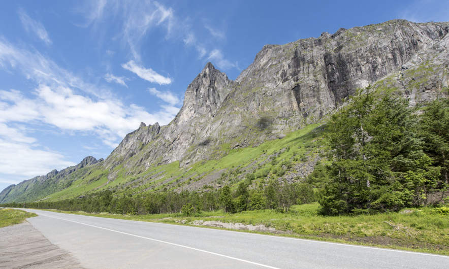 Senja mountain range along the street