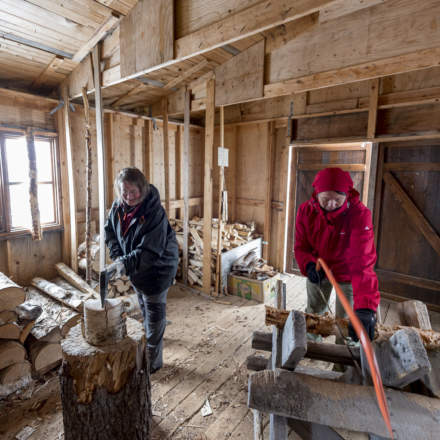 Annika and Katrin working in the wood shed