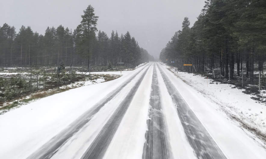Snow shower on the E4 near Skellefteå