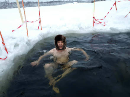 The blog author bathing in the ice hole I