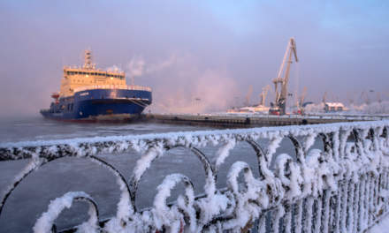 At the port – the ship Vladivostok in the background