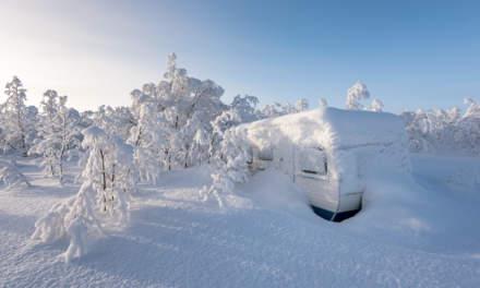 Snowed in caravan