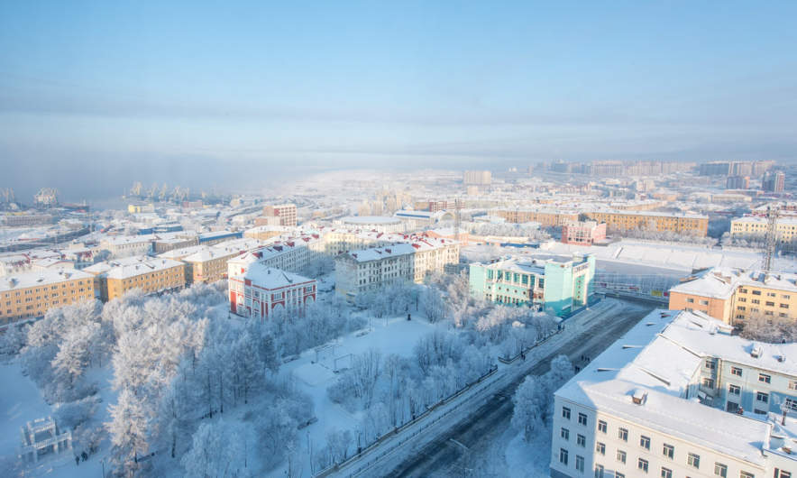 Snowy view over Murmansk