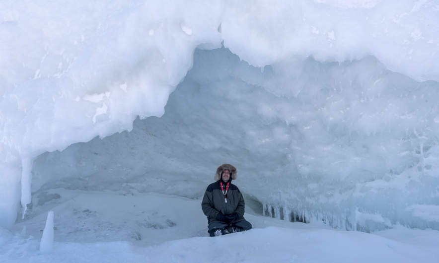 Sitting in the ice cave.