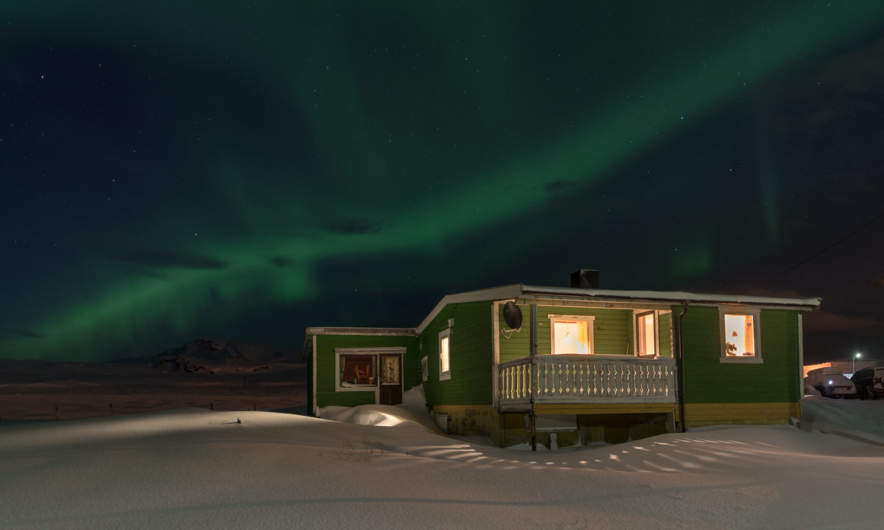 Polar lights over Cape East in Ytre Kiberg