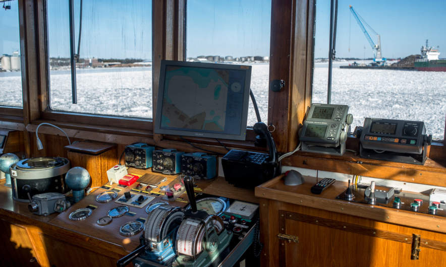 The bridge of the icebreaker Baus