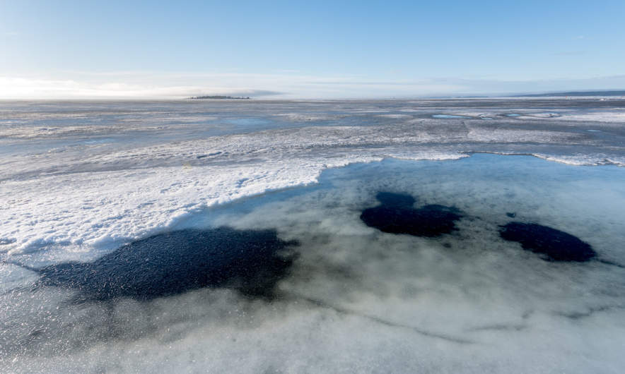 Holes in the ice.