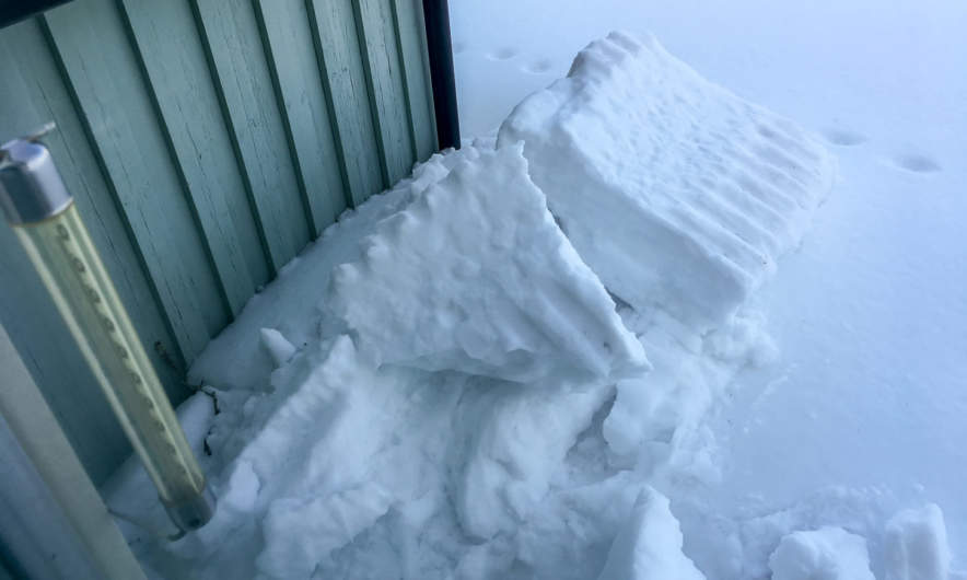 A small roof avalanche beside my shed.