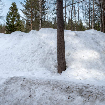 Some snow piles are still quite high