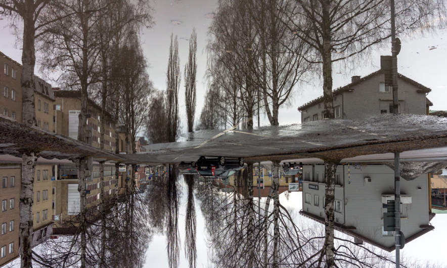 Upside-down rain puddle in Skellefteå