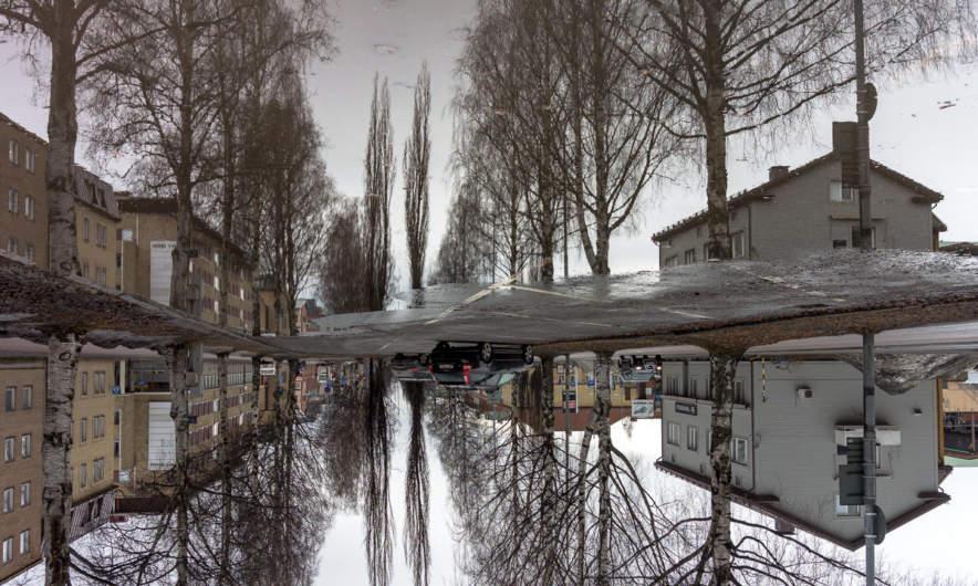 Upside-down rain puddle in Skellefteå