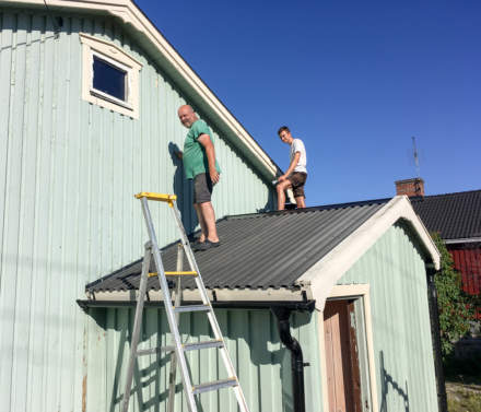 Working on the roof of the shed