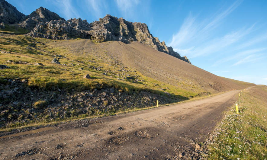 Dirt road along one of the East Fjords