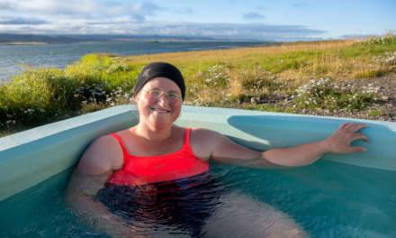 Annika taking a hot bath