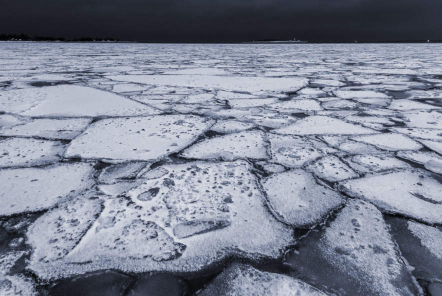 Pack ice on the Baltic Sea at winter solstice