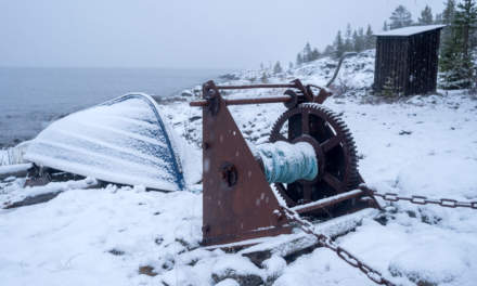 Winch and boat at the coast